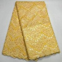 (5 ярдов/шт) высочайшее качество handcut Швейцарский кружевной ткани Роскошные блестки вышитые желтый африканский органзы кружевной ткани для