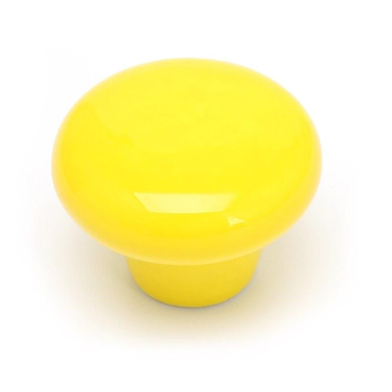 1 шт. круглая ручка для шкафа Керамическая Дверь Шкаф Ящик кухонный выдвижной домашний декор - Цвет: Цвет: желтый