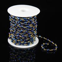 6mm Titanium Plated Dark Blue Iron Pyrite Beads Faceted Round Shape Chains Jewelry With Wire Wrapped