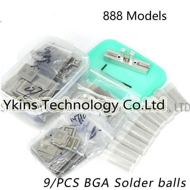 2018 888/modelo BGA Stencil Bga Stencil Reballing Kit estação de aquecimento direto Reballing Substituir + 9 pcs Solda BGA bolas