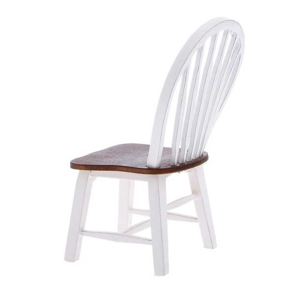 New Dollhouse Miniature Kitchen Dining Room Furniture White Wooden Side Chair with Slat Back 1:12 Scale (Color: Whi