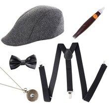 קוספליי תחפושות 1920s Mens גטסבי גנגסטר תלבושות אביזרי סט 30s מנהטן כובע כתפיות ליל כל הקדושים המפלגה זרוק חינם