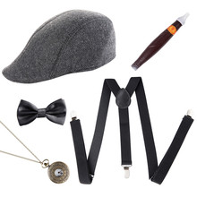 Cosplay Costumes 1920s Mens Gatsby Gangster Costume Accessories Set 30s Manhattan Hat Suspenders Halloween Party drop Shipping