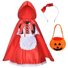 FEECOLOR 1SET Little Red Riding Hood Dress Christmas Cosplay Costumes for Girls With Cloak,Headband,Bag (2-12Years)
