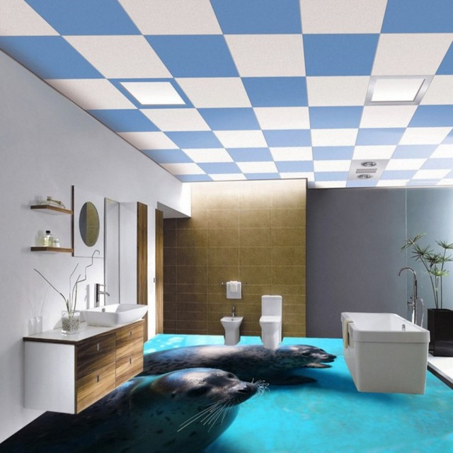 Free Shipping custom 3D Bathroom Seal Floor Tile Decorative Painting