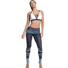 595e35be645 Plus Size Blue Fitness Leggings Women Elastic Sporting Workout Pants  Gradient Color Stripe Print High Waist Leggings Push Up
