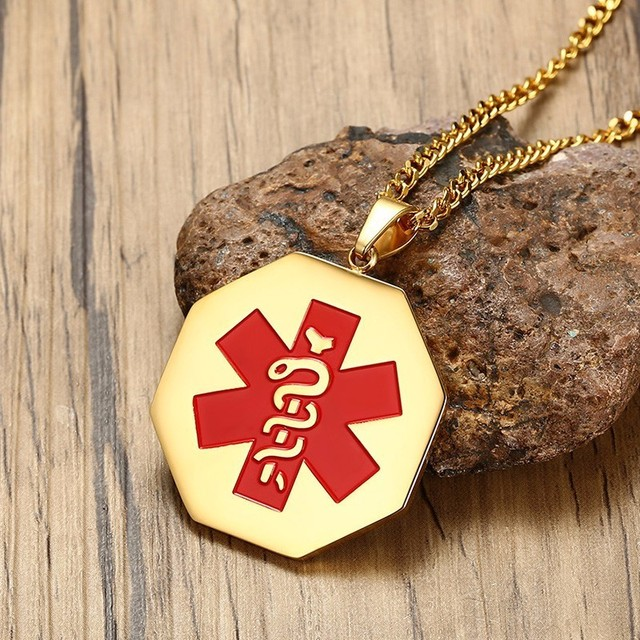 Engraved Medical Alert ID Necklace Pendant Stainless Steel Hexagonal 2
