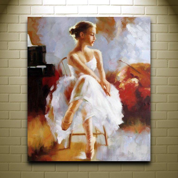 Handmade Women Oil Painting On Canvas Ballet Girl Art Deco Famous Artists Modern -6936