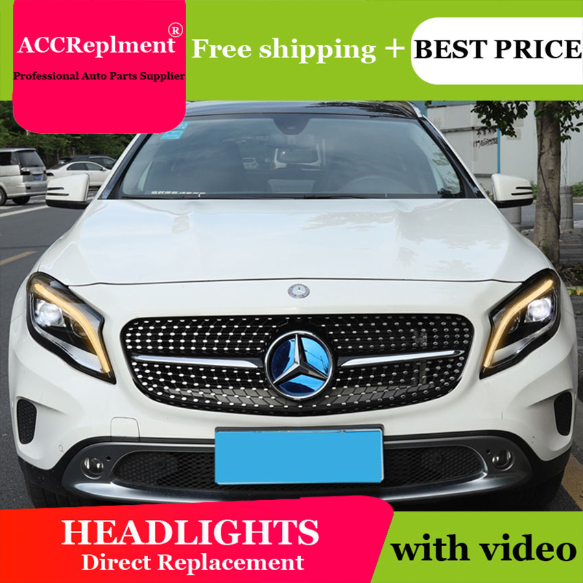 Car Styling for Benz GLA Headlights 2015 2019 LED Headlight Lens Double Beam H7 HID Xenon