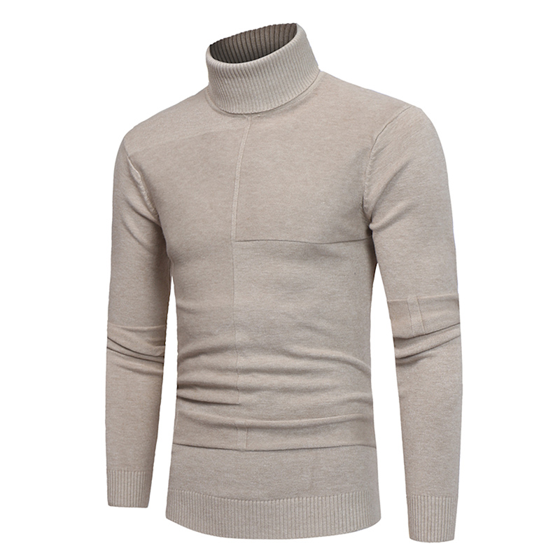 Pullover Men Sweater Knitwear Turtleneck Male XXXL Brand Slim-Fit Double-Collar Autumn