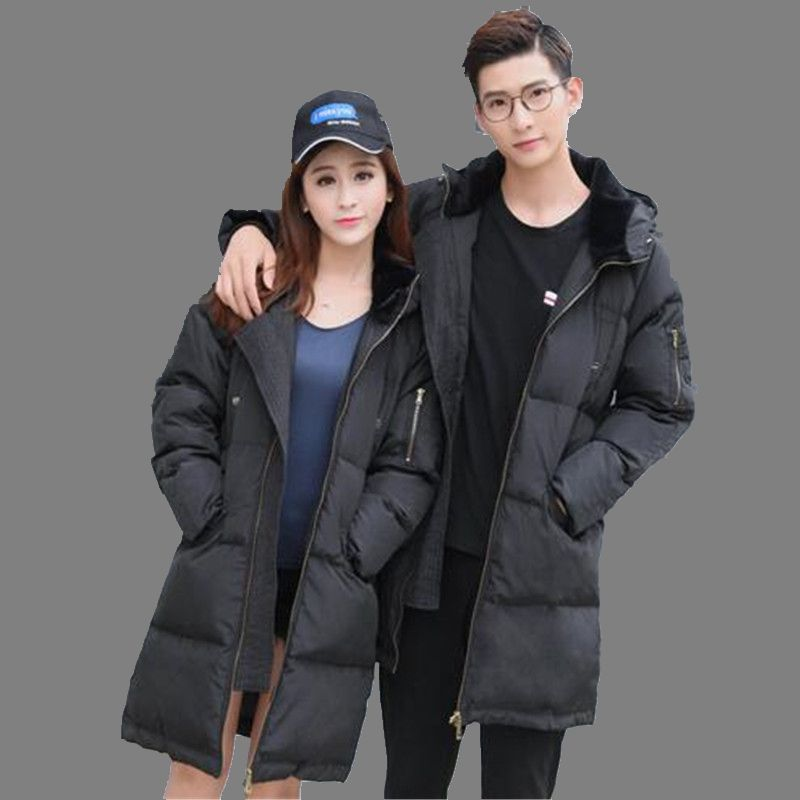 Winter 2017 Fashion Couples Hooded Casual Coat Down Down Jacket Loose Big yards Black Thicken Warm