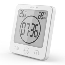 1PC Bathroom Wall LCD Digital Shower Clock Waterproof Timer Temperature Humidity