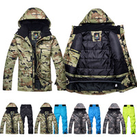 Ski Suits Men Winter Waterproof Thermal Snowboarding Sets Ski Jackets + Pants Outdoor Skating Suit Outer Overal Sportswear