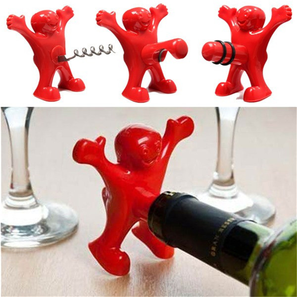 Happy Man Opener Multifunction Stainless Steel Red Wine Beer Soda bottle stopper for Kitchen Bar Tool gift wedding +Z