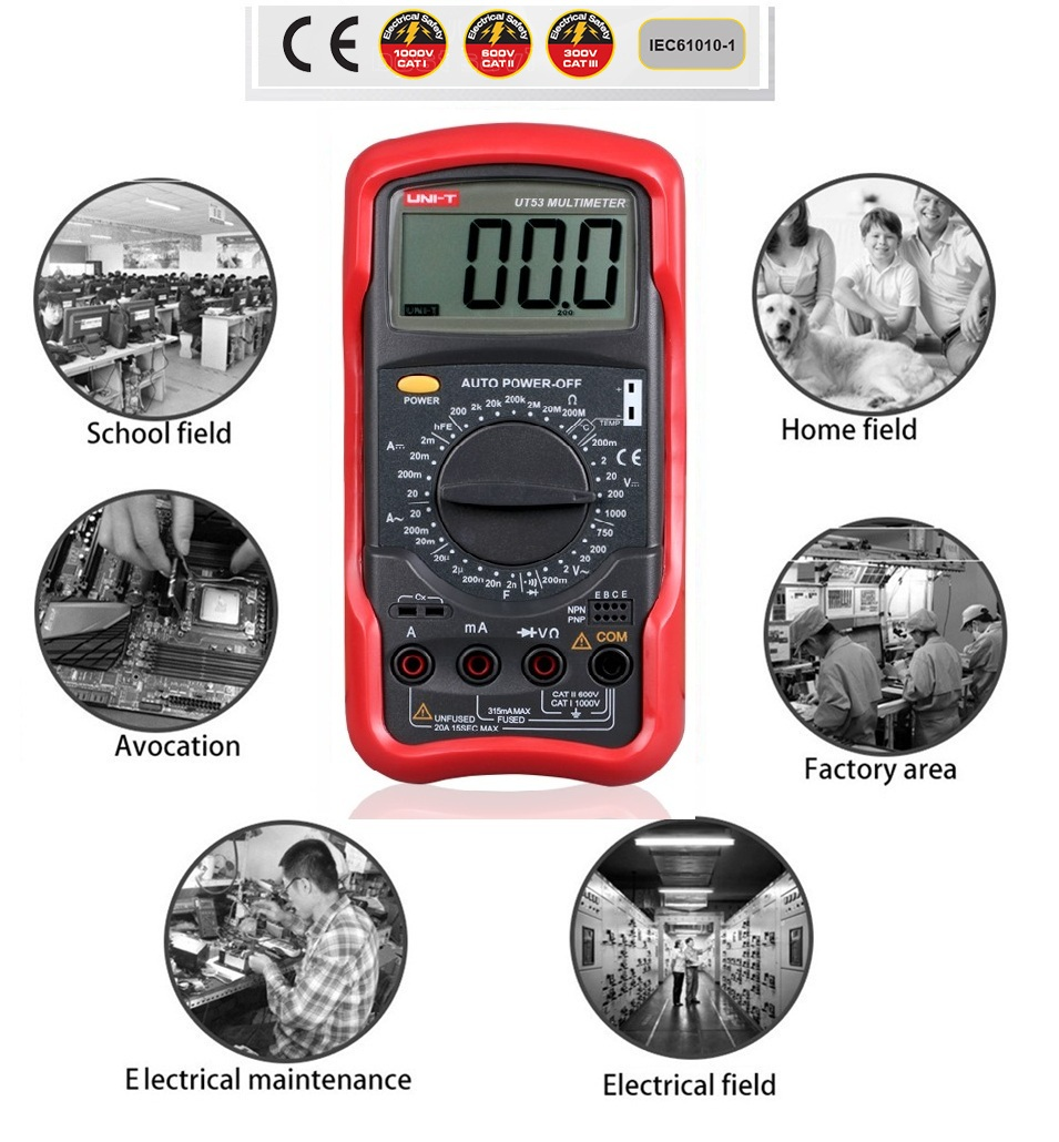 2017 NEWEST UNI-T UT53 Standard DMM Digital Multimeters W/ Temperature Test & Sleep Mode multimetros multimetr multitester UT53 uni t ut30c original authentic data handed hold digital multimeters temperature test