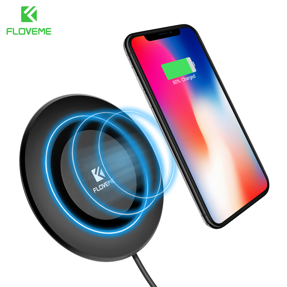 FLOVEME Qi Wireless Charger For iPhone 8 X 10 8 For Samsung Galaxy S8 S8 Plus Note 8 5 S6 S7 Edge Mobile Phone Charging Pad Dock