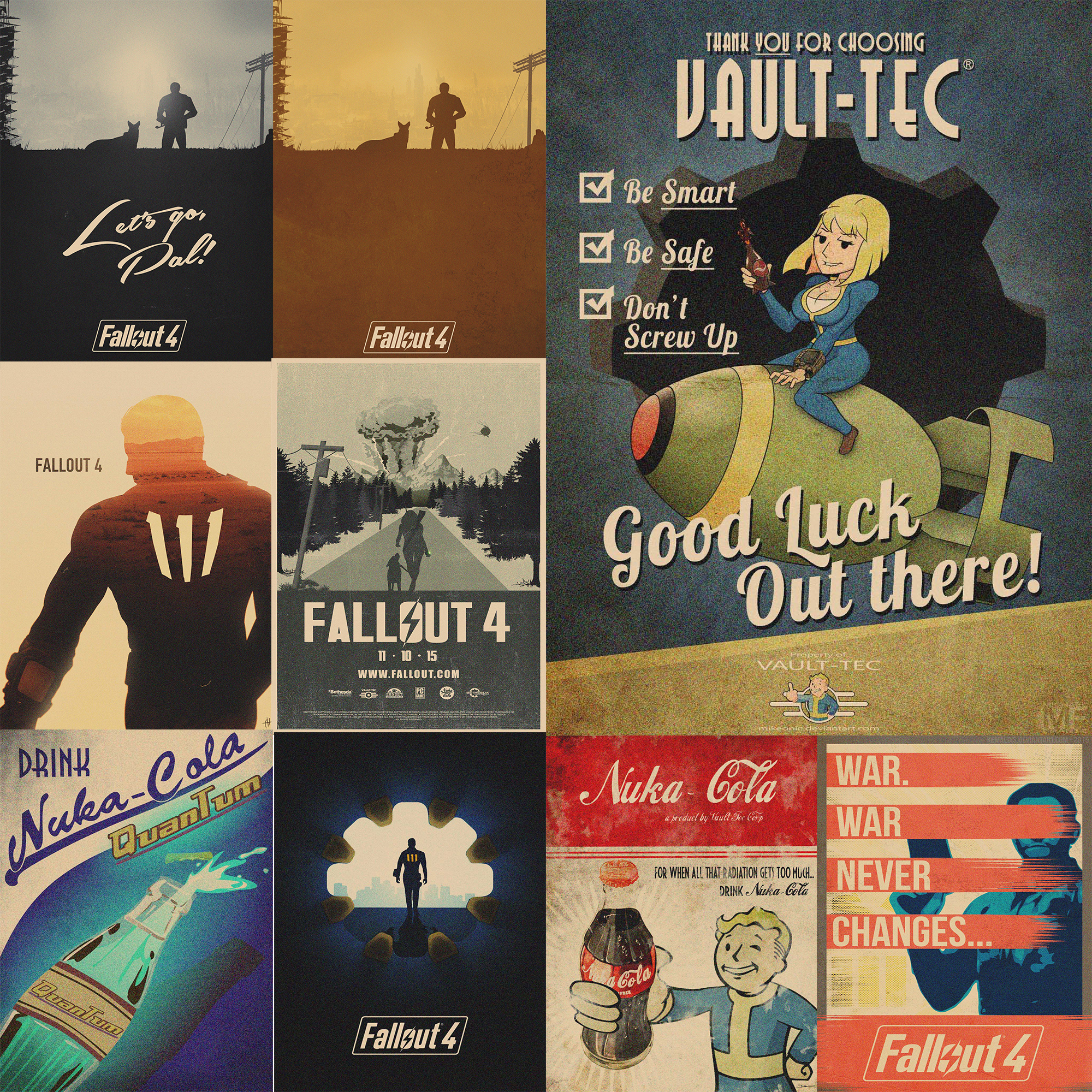 Fallout Posters Game Prints Wall Stickers Vintage Style Home Decoration GA1 image