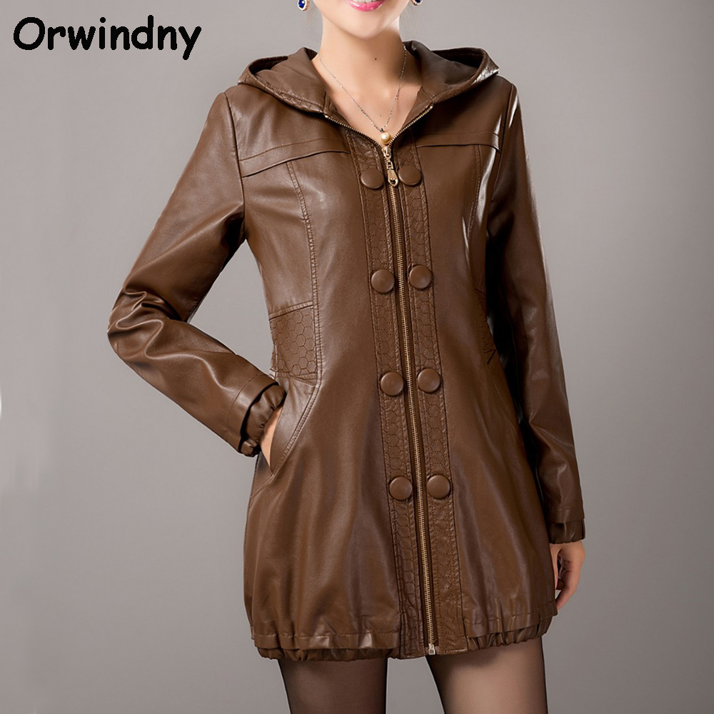 2019 new casual jackets and coats spring   leather   jacket women long coats   leather   high quality female clothing plus size 5XL