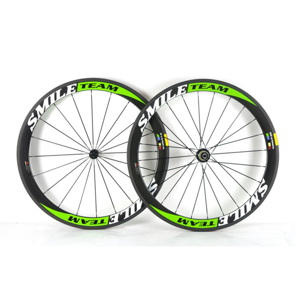 SmileTeam 700C 38mm 50mm 60mm 88mm Carbon Clincher Tubular Road Bike Bicycle Wheels Super Light Carbon Wheels Racing Wheelset carbon wheels tubular clincher powerway r13 hub wheels 38mm 50mm 60mm 88mm road carbon bicycle wheels cheapest sale