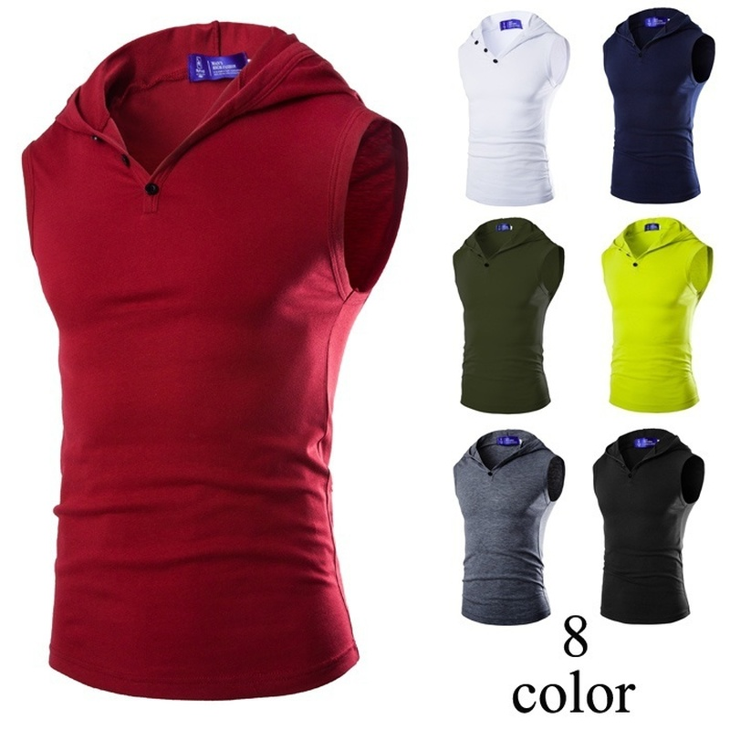 2019 summer New Men's Bodybuilding Fitness Sleeveless Vest Hooded Pullover   Tops   Male   Tank     Tops   Hoodies Solid Singlets Plus Size