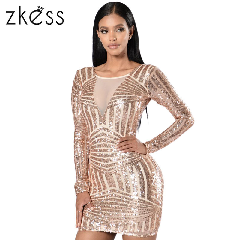 ZKESS Special Occasion Women Bodycon Rose Black Open Back Long Sleeve  Sequin Party Mini Dress vestido de festa curto LC22867 a19647907c8c