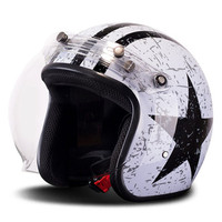 BYE Motorcycle Helmet Retro Vintage Moto Motorbike Cruiser Chopper Scooter Cafe Racer 3/4 Open Face Helmet With Bubble Visor