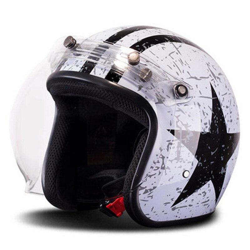 BYE casque de Moto rétro Vintage Moto Cruiser Chopper Scooter café Racer 3/4 casque visage ouvert avec visière à bulles