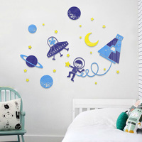 Blue Space Travelling Design Acrylic Stickers for Kindergarten Kids Room Decorations DIY Boy's Room Wall Sticker