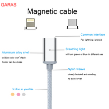 GARAS Magnetic Super Fast 2A Micro USB Charger Cable For iPhone 5/5s/6/6s/7  LG XIAOMI Android Mobil Phone braided weave cable