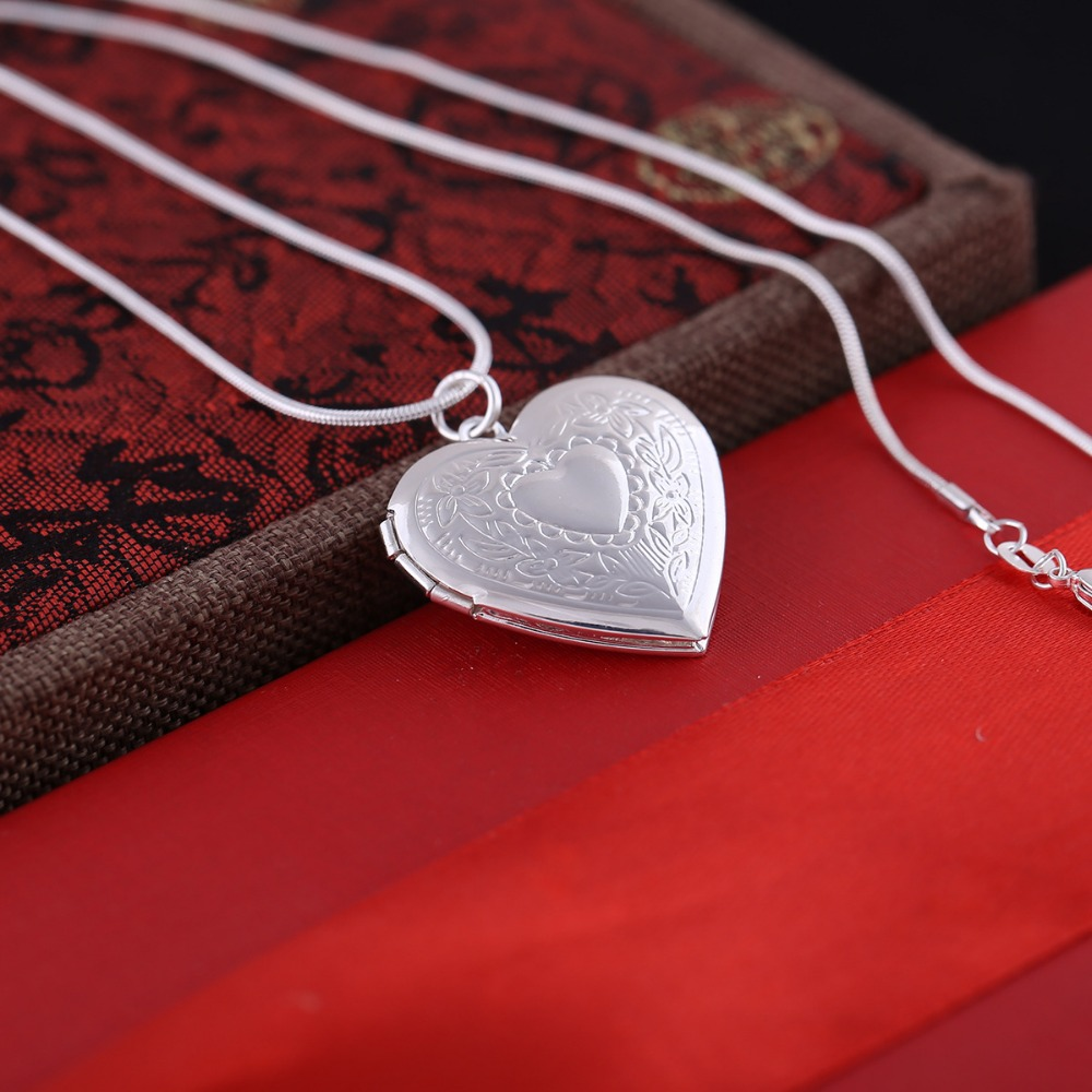 Silver plated romantic snake chain charm double heart frame pendant silver plated romantic snake chain charm double heart frame pendant necklace photo frame locket necklace fo women memory gift in pendant necklaces from aloadofball Choice Image