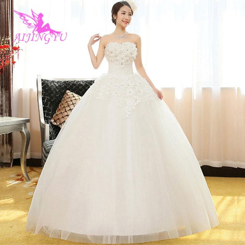 AIJINGYU 2018 Beautiful Free Shipping New Hot Selling Cheap Ball Gown Lace Up Back Formal Bride Dresses Wedding Dress WK419