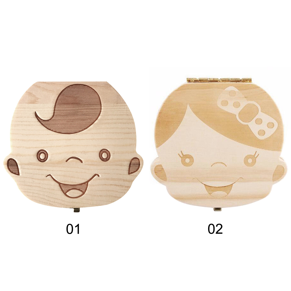 Milk Teeth Box Tooth Storage Box Wooden Baby Boy Girl Teeth Save Box Baby Teeth Box Save Organizer
