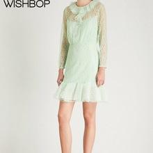 c74e20c5414 2018 Summer New Women Long Sleeve Mesh Lace Patchwork See Through Ruffle  Dress - Wishbop Lady