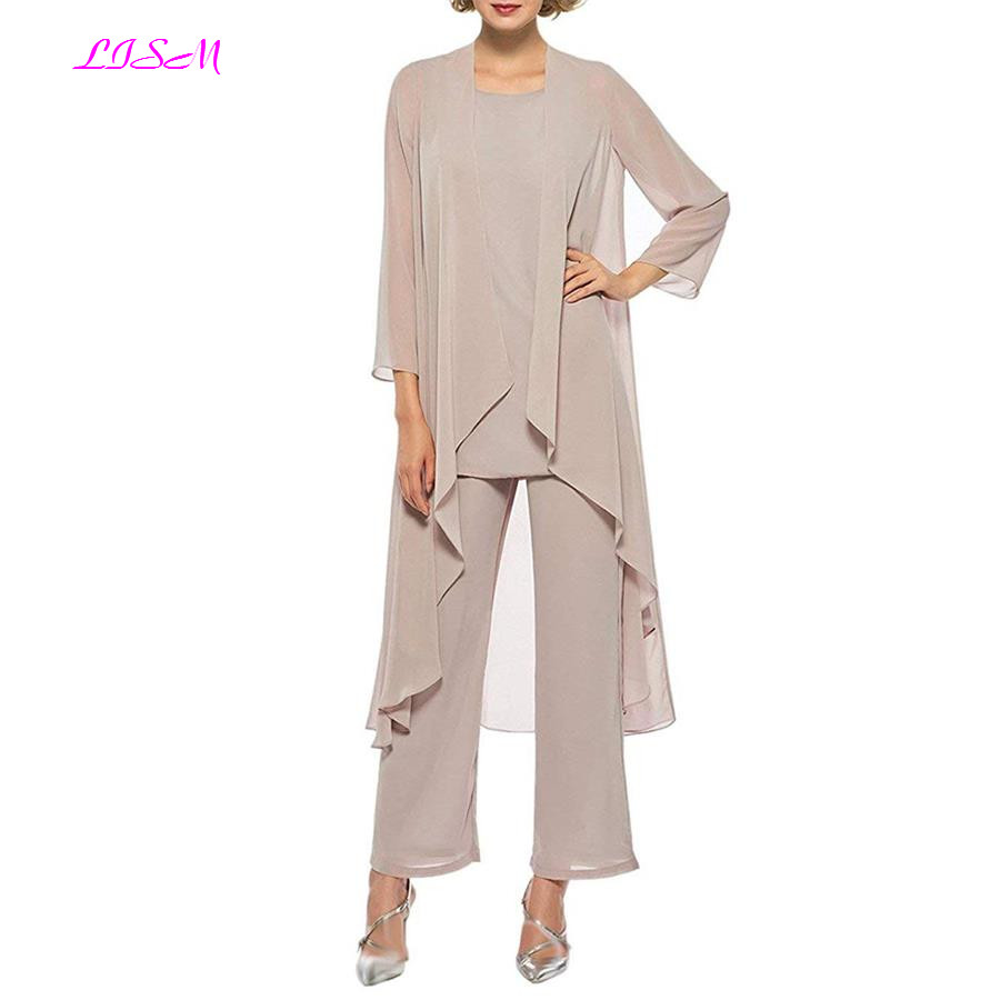 Elegant Three Pieces Mother of The Bride Dresses Chiffon Pant Suits with Long Jacket Plus Size Mother of the Groom Dress 2019 in Mother of the Bride Dresses from Weddings Events