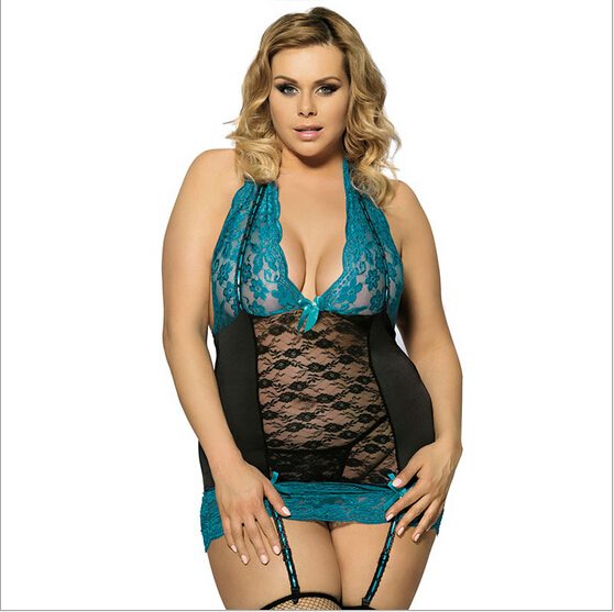 Plus Size M XL 3XL 5XL Women Sexy Lingerie Sheer Babydoll Underwear Nighty Sleepwear Backless With G-String  free shipping