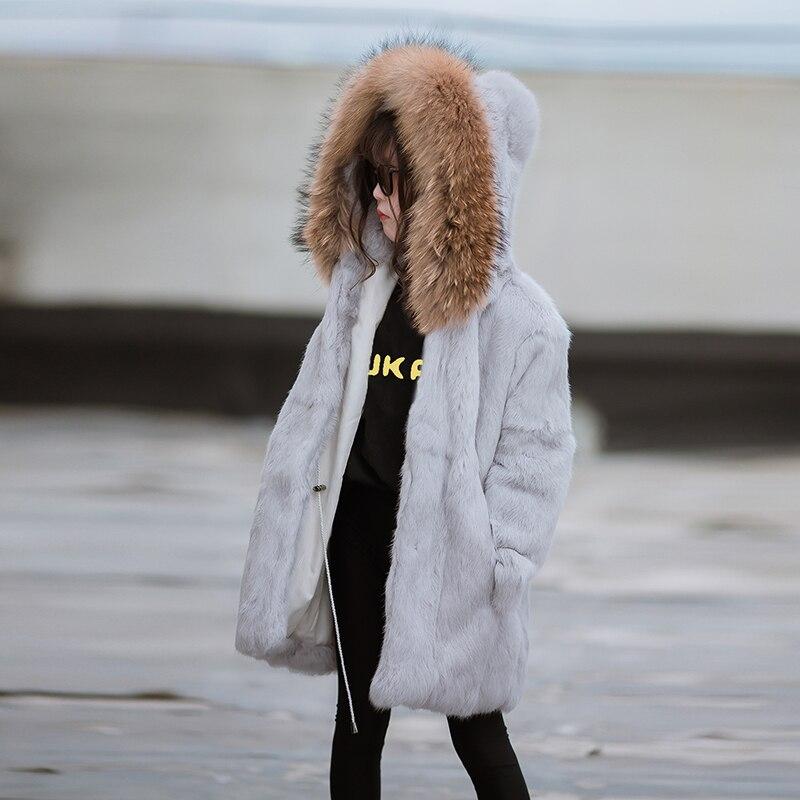 JKP/Новинка 2018 года, зимнее Детское пальто с натуральным кроличьим мехом, однотонное теплое пальто с воротником из натурального меха енота дл