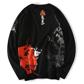 Drop Shipping USA Size Men Harajuku Cotton T Shirt Fashionable And Casual Japanese Street Ukiyoe Black White Long Sleve T Shirt