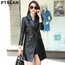 Ptslan 2017 Spring Autumn Winter Real Leather Jacket Women  Long Leather Coat Women Turn-down Collar Genuine Leather Jacket