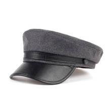 2017 top sprzedaży moda wełniane Beret Cap dla kobiet mężczyzn Navy Hat ze skórą vosor Outdoor Travel kapelusze kobiet zima ciepłe czapki tanie tanio Berety Casual Wełna sztuczna skóra bawełna Unisex VORON płaska nasadka Stałe Dorosłych 55-58cm Czarny ciemnoszary