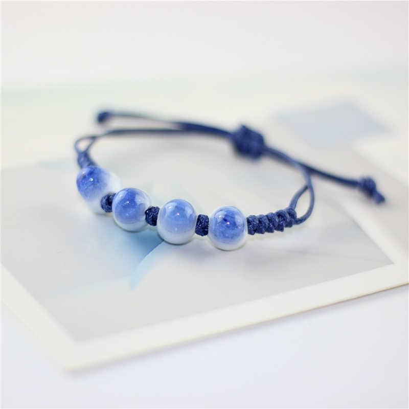 4 gaya buatan tangan murni kualitas tinggi keramik gelang pasangan pecinta manik-manik gelang dikepang wanita perhiasan mode sederhana lucu hadiah
