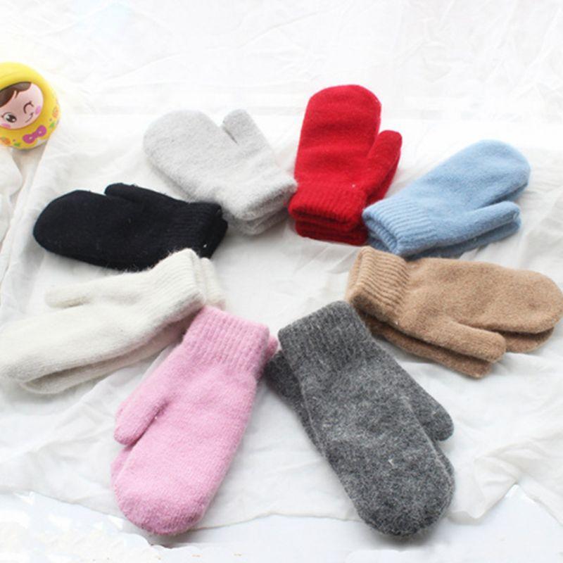 Femmes unisexe Couples hiver épaissir Double couche lapin fourrure gants nervuré tricoté garniture solide couleur bonbon moufles poignet plus chaud 9
