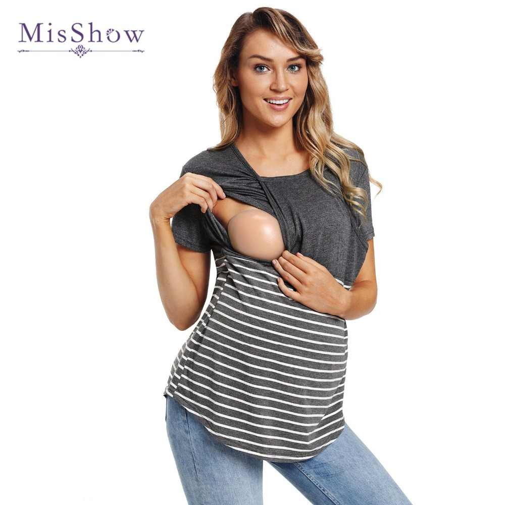 17d0e2a96fb New Arrival Plus Size Summer Maternity Tees 2018 Striped Breastfeeding  T-Shirts For Women Nursing