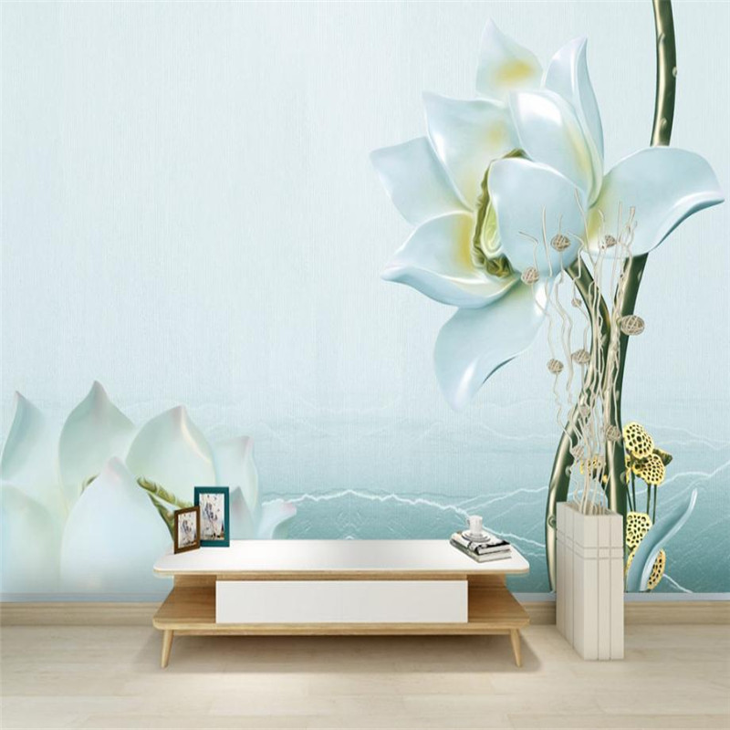beautiful flower wallpaper custom 3 d stereo nordic modern desktop background wall murals living room study flower wallpaper