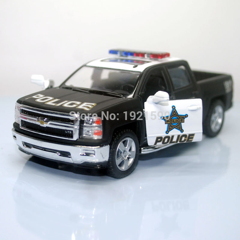 KT 1/46 Scale Pull Back Car Toys USA 2014 Chevrolet Silverado Police Edition Diecast Metal Car Model Toy For Kids/Gift