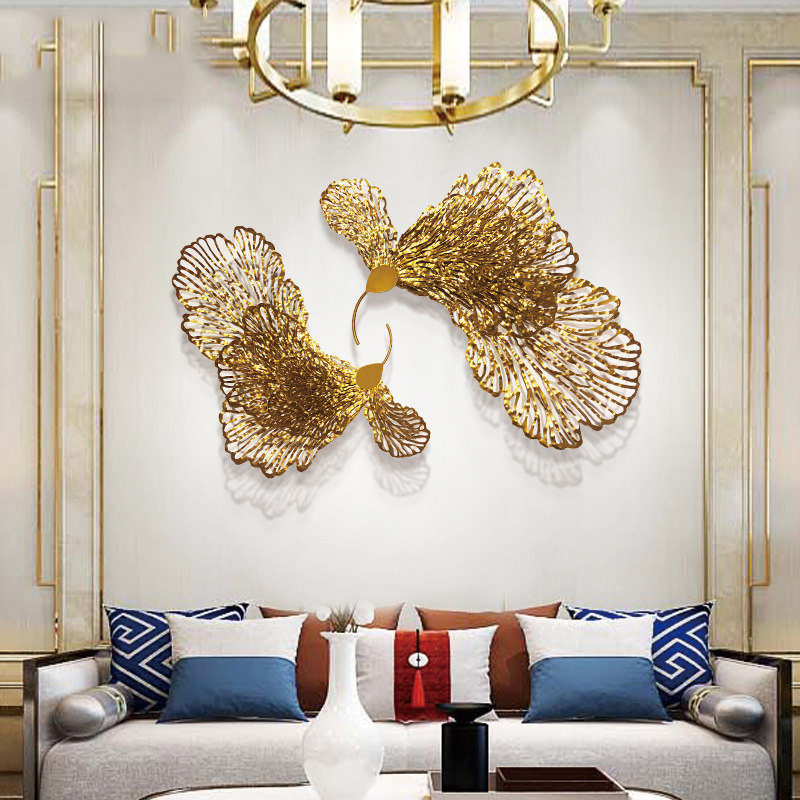 European Wrought Iron Butterfly Flower Wall Hanging Ornaments Home Livingroom Wall Mural Crafts Decoration Hotel 3D Wall Sticker - 4