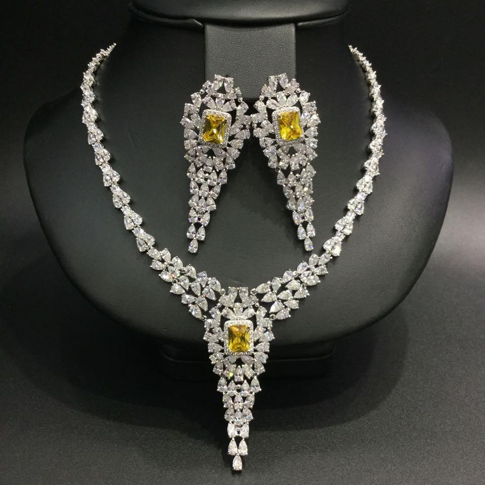 Top qualité poire forme cubique zircone luxe femmes mariage soirée Costume bijoux ensemble avec pierre jaune
