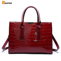 Red Crocodile Patent Leather Tote Bag Women Handbags Luxury Women Bags Designer Crossbody Shoulder Bags Famous Brand Trunk Bloso