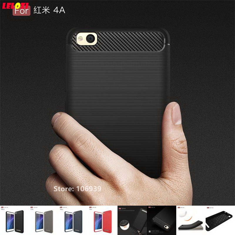 LELOZI Soft TPU Silicone Armor Rugged Carbon Fiber Brushed Men Phon Cell Coque Etui Case Capinha For Xiaomi Redmi Red Mi 4A Gray