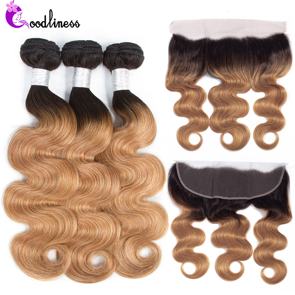 Goodliness Ombre Bundles With Frontal 1B/27 Remy Ombre BodyWave Human Hair Blonde Bundles With Frontal Ombre Peruvian Hair Weave