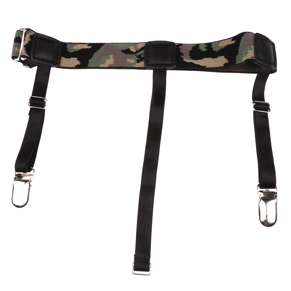2Pcs Elastic Adjustable Mens Shirt Stays Holders Camouflage Garters Belt Clamps Leg Suspenders Shirt Tuck tirantes hombre